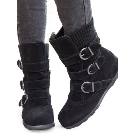 Womens Winter Warm Matte Booties Shoes Buckle Flat Short Ankle Snow Boots ()