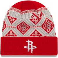 Houston Rockets New Era Current Logo Cozy Cuffed Knit Hat - Red - OSFA