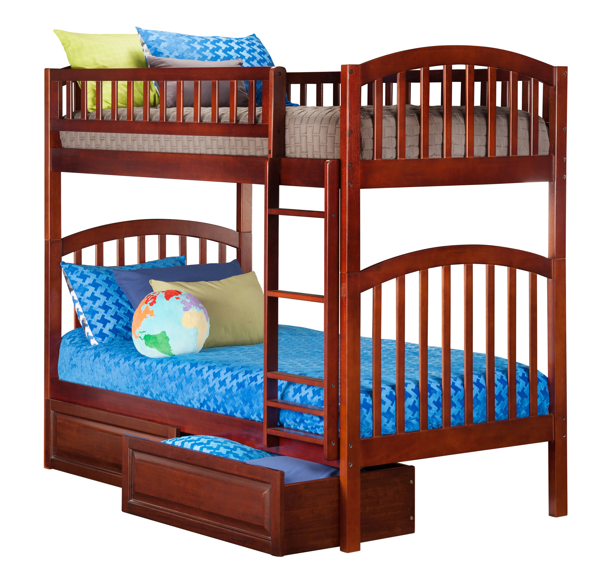 Richland Bunk Bed Twin over Twin with 2 Raised Panel Bed Drawers in Walnut