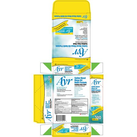 Ayr Saline Nasal Rinse Kit Refill Packets, 100 ea