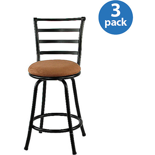 Mainstays Metal Swivel Counter Stool 24'', Set of 3, Black