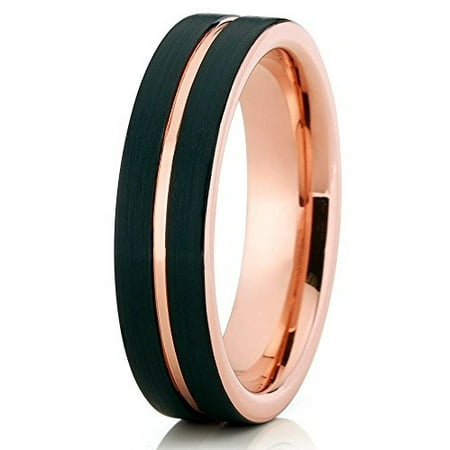 Tungsten Wedding Band 18K Rose Gold Tungsten Ring 6mm Black Brushed Tungsten Carbide Men & Women Comfort Fit ()