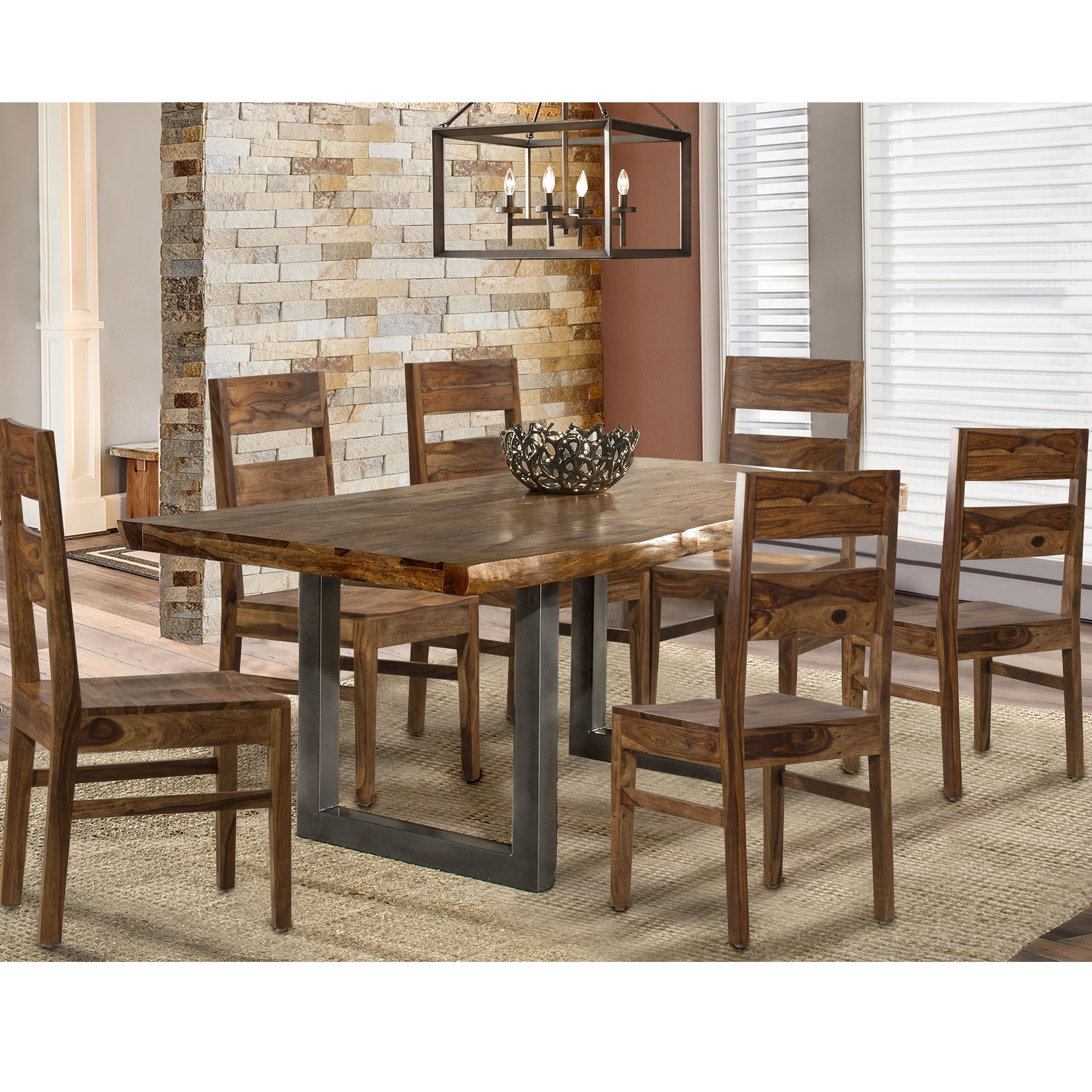 Hillsdale Emerson 7 Piece Dining Set in Natural Sheesham