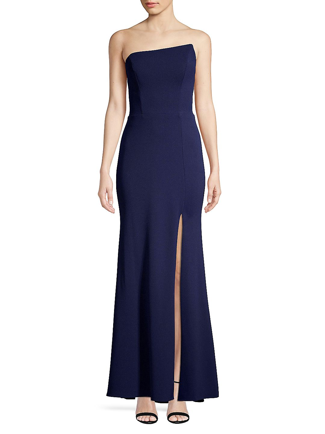 Strapless Asymmetrical Slit Gown