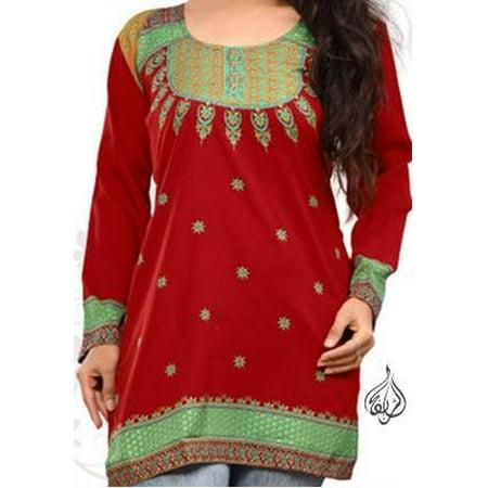 38 Inch Top (Beautiful Women Tops, Indian Kurti Tunic, Kurta Sale :  NOOR | RED | Christmas | Bust Size 38