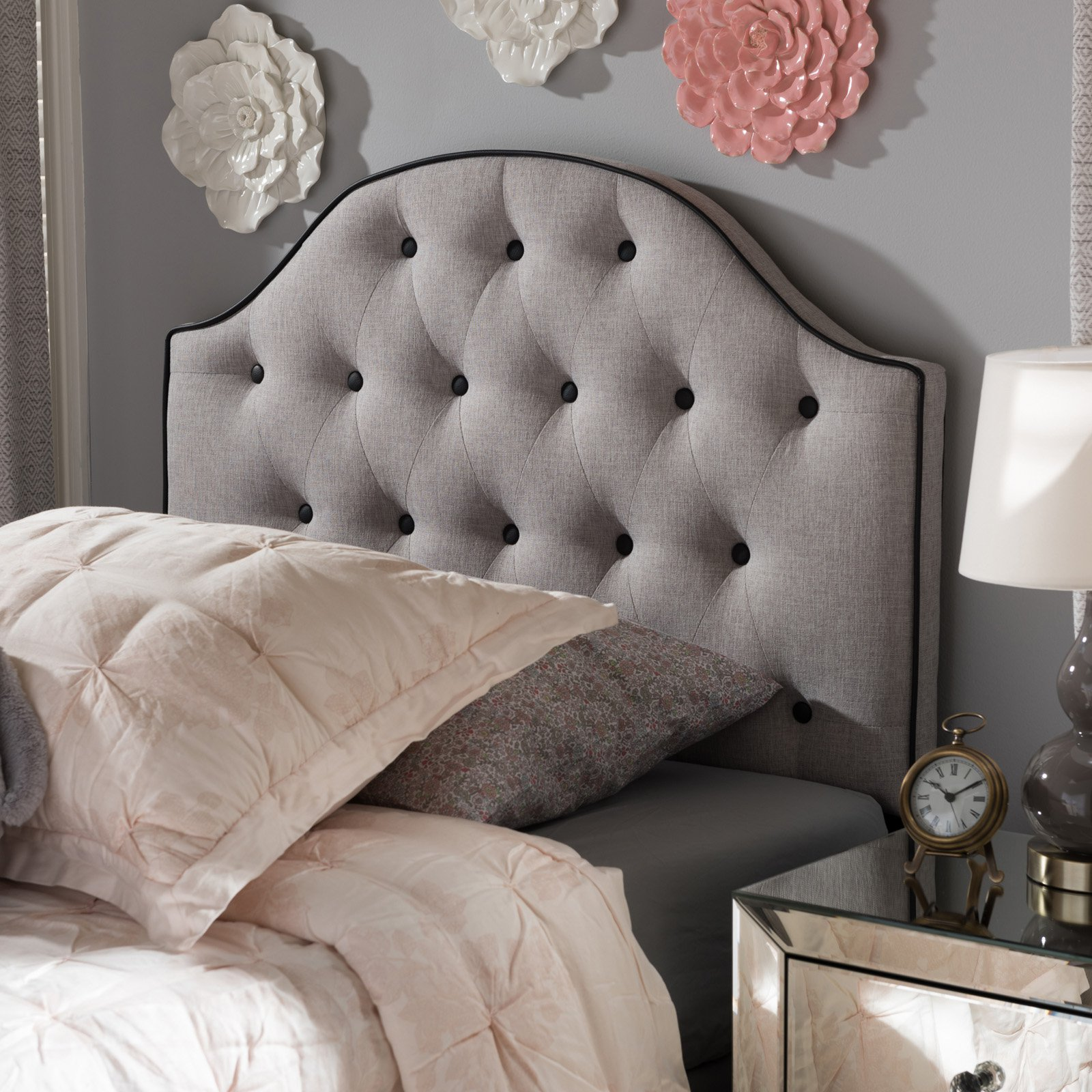 Baxton Studio Windsor Modern and Contemporary Greyish Beige Fabric Upholstered Scalloped Buttoned Full Size Headboard