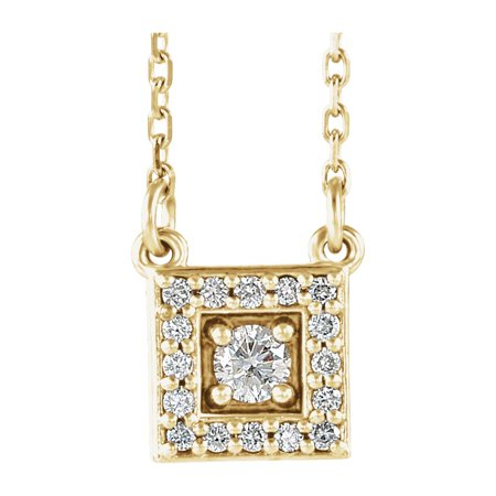 14K Yellow Gold 1/8 CTW Diamond Halo-Style Square Pendant Necklace 18inch (Yellow Gold Diamond Square Pendant)