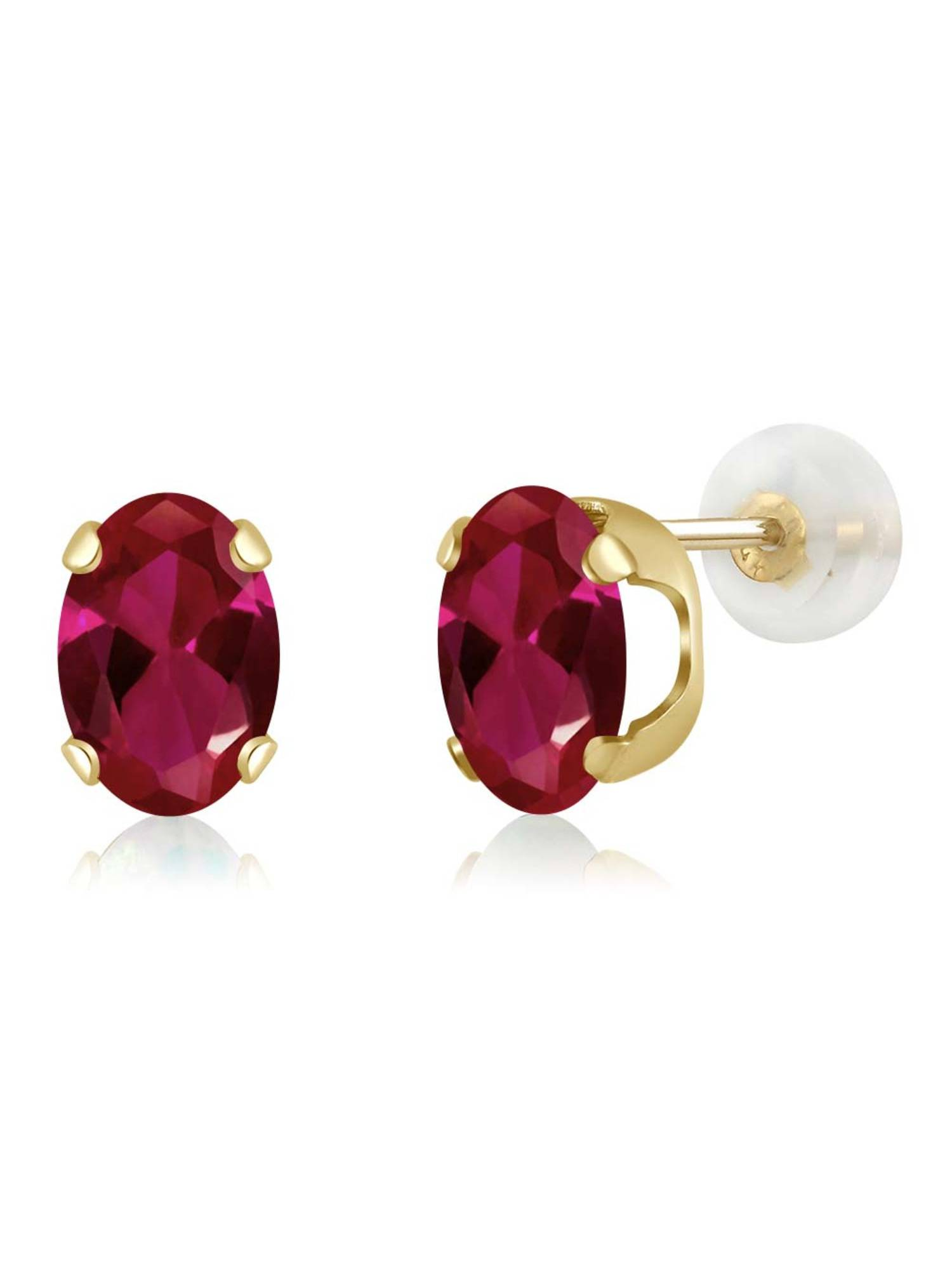 Gem Stone King 1.80 Ct Oval 7x5mm Red Created Ruby 925 Sterling Silver Stud Earrings
