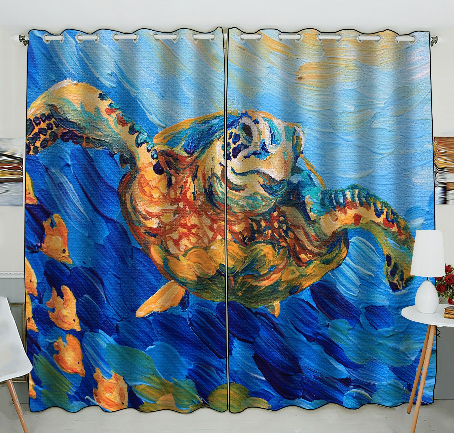 ZKGK Sea Turtle Painting Window Curtain Drapery/Panels/Treatment For Living Room Bedroom Kids Rooms 52x84 inches Two Panel