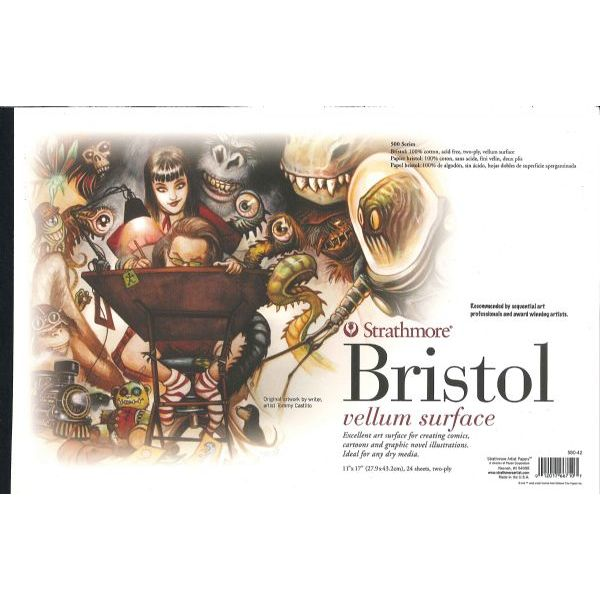 "(Price/PD)Strathmore ST580-42 11"" x 17"" 2-Ply Vellum Surface Tape Bound Sequential Art Bristol Pad"