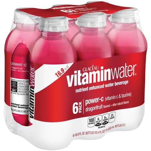 Glaceau Vitaminwater Power-C Dragonfruit Nutrient Enhanced Water Beverage, 16.9 fl oz, 6 pack