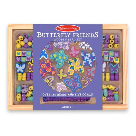 Melissa & Doug Butterfly Friends Wooden Bead Set With 150+ Beads for Jewelry-Making (Melissa And Doug Bead Set)