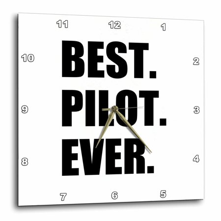 Jet Airplane Clock (3dRose Best Pilot Ever, fun appreciation gift for talented airplane pilots, Wall Clock, 15 by)