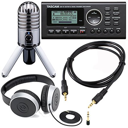 Guitar Studio Bundle Including Tascam GB-10 - USB Guitar/Bass Trainer/Recorder + Samson SR 550 Over-Ear Studio Headphones + Samson Meteor Mic USB Studio Microphone + Auxiliary Cable (Tascam Tascam Guitar Trainer)