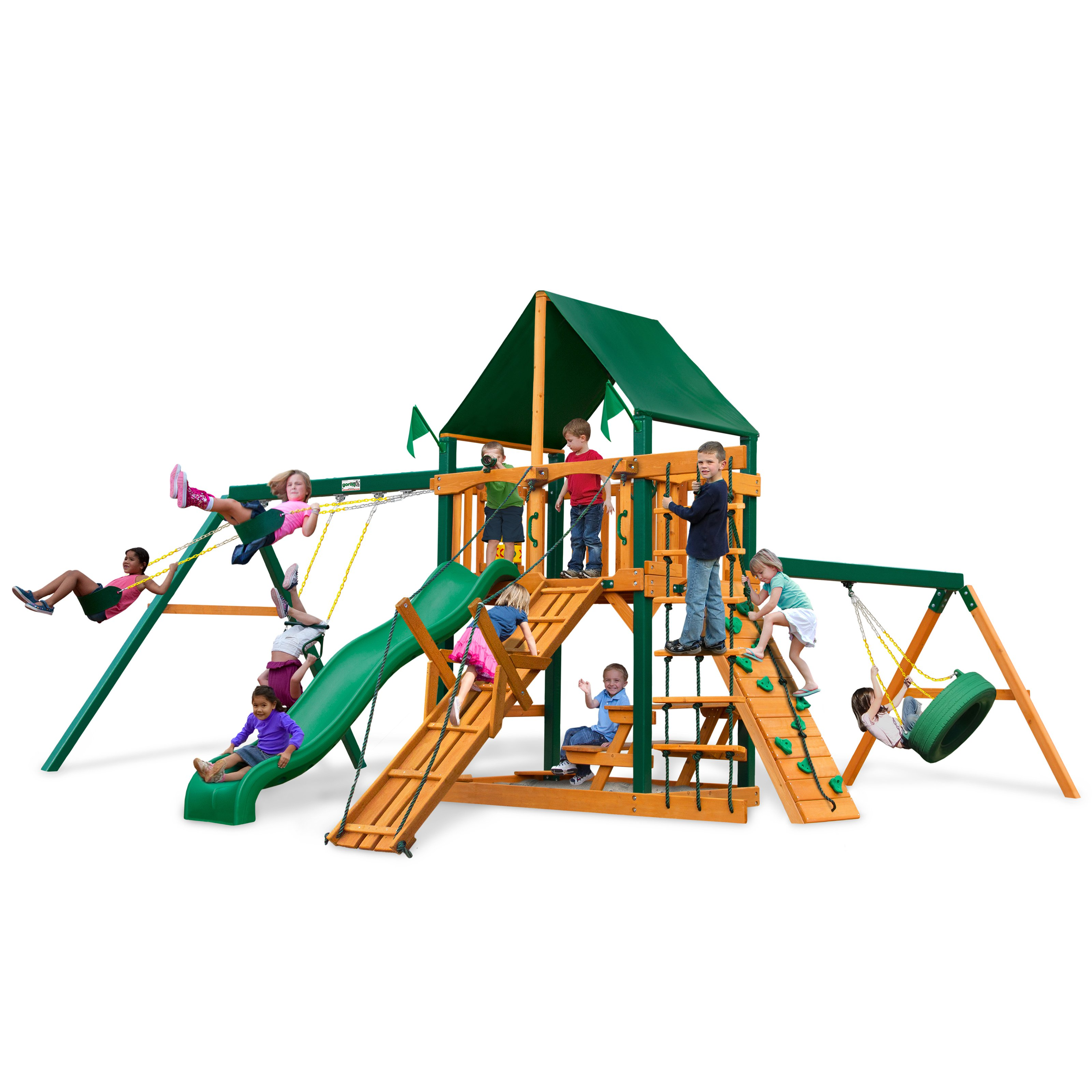 Gorilla Playsets Frontier Supreme Wood Swing Set with Canvas Green Canopy