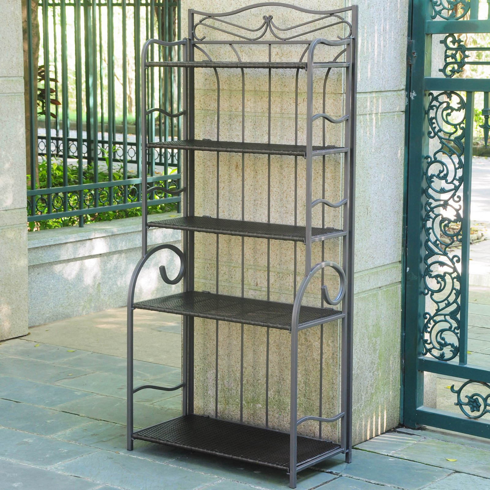 International Caravan Valencia Outdoor 5-Tier Bakers Rack