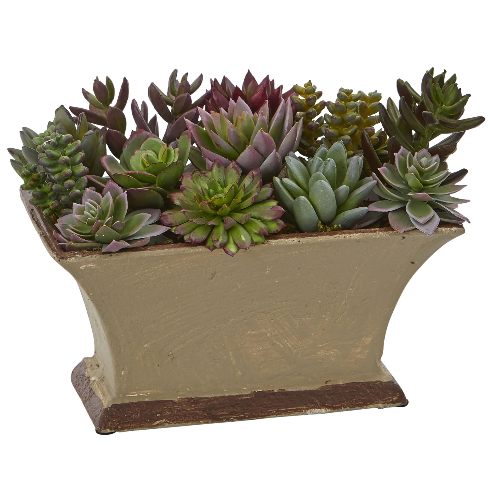 """Nearly Natural 6.5"""" Mixed Succulent Artificial Plant in Vase"""