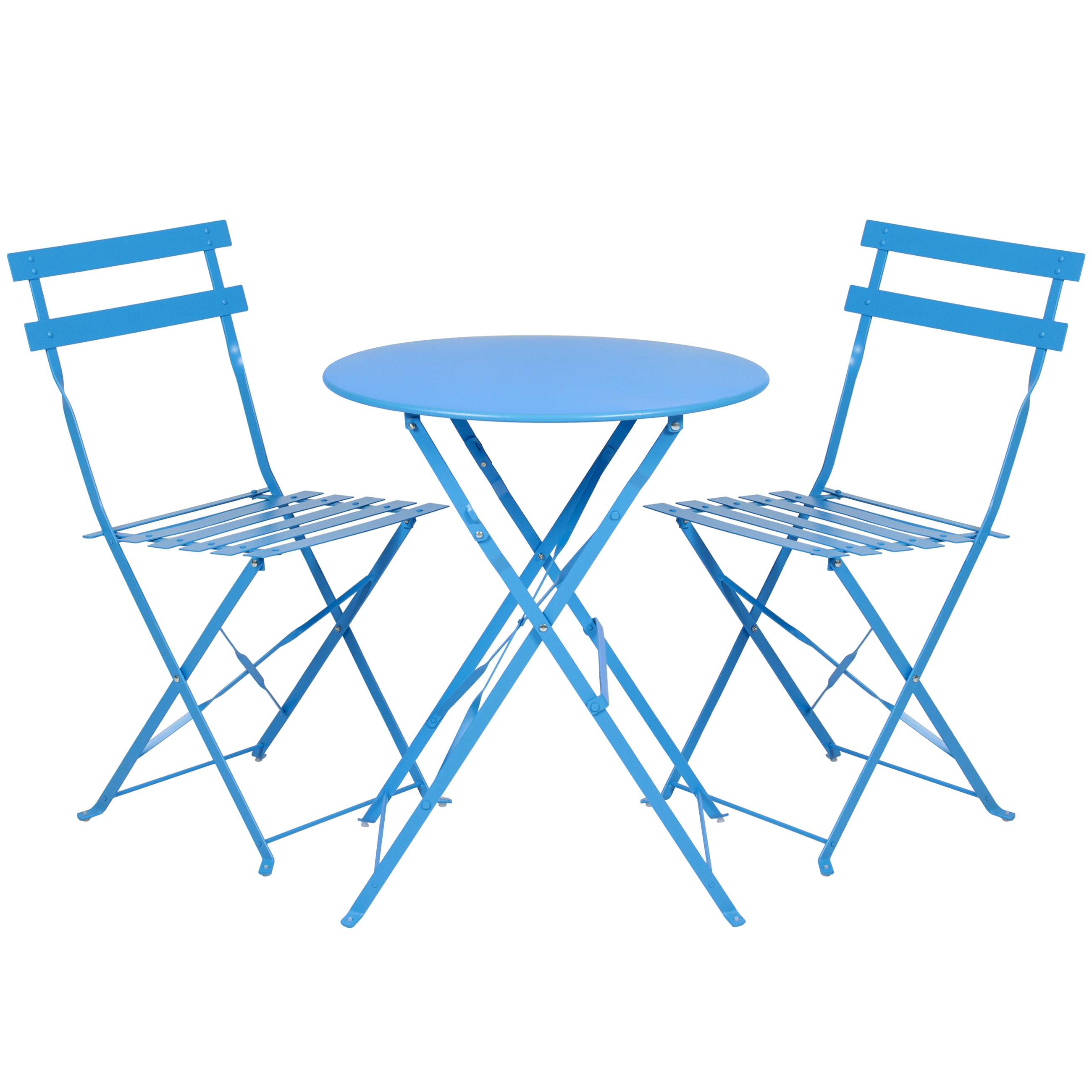 Best Choice Products 3-Piece Portable Folding Metal Bistro Set w/ Table and 2 Chairs - Blue
