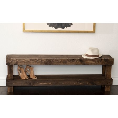 Rustic Contemporary Farmhouse Solid Wood Bench Large Seat by Del Hutson Designs Rustic Wood Benches