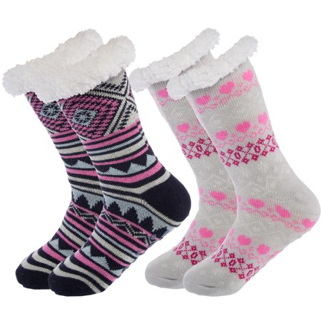 9be022348 Treehouse Knit - Treehouse Knit (2 Pairs) Sherpa Lined Women's Thermal Slipper  Socks Nonskid Fuzzy Cozy Shoe 4-10 - Walmart.com