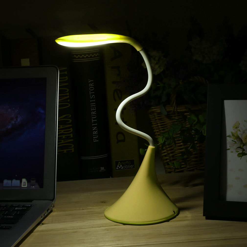 Blue LED Touch Switch USB Gooseneck Desk Lamp Dimmable Adjustable Table Light by YKS