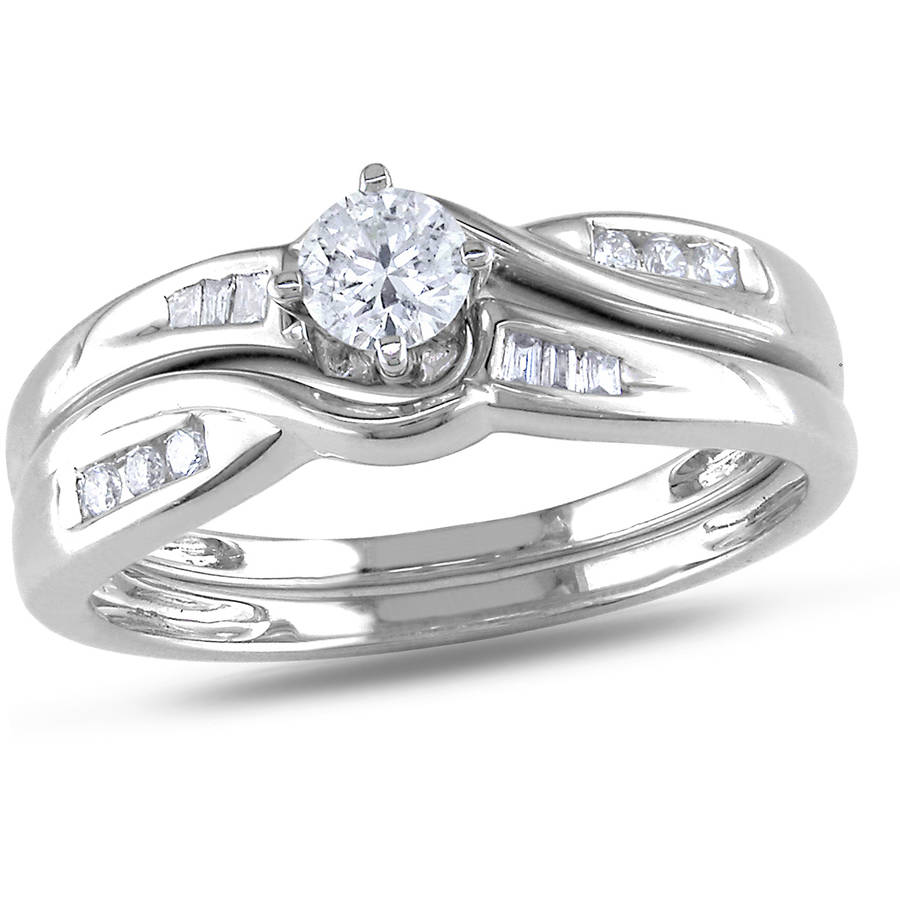 Miabella 1/3 Carat T.W. Round and Tapers-Cut Diamond 10kt White Gold Bridal Set