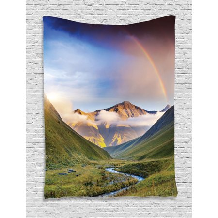Lake House Decor Wall Hanging Tapestry  Serene Meadow With Narrow Riverbed Mountains Rainbow Grass Clouds And Mist At Daytime  Bedroom Living Room Dorm Accessories  By Ambesonne