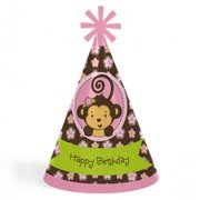 Monkey Girl - Cone Happy Birthday Party Hats for Kids and Adults - Set of 8 (Standard Size)
