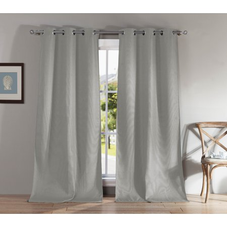 "2-Pack Montgomery Blackout Grommet Pair 38 in. W x 84"" in. L in Silver"