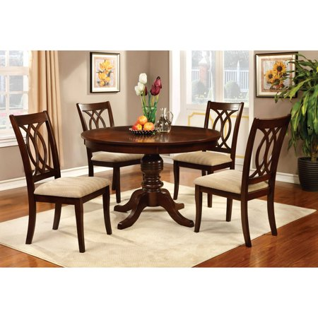 Furniture of America Goddard Transitional 5-Piece Round Dining Set, Brown -