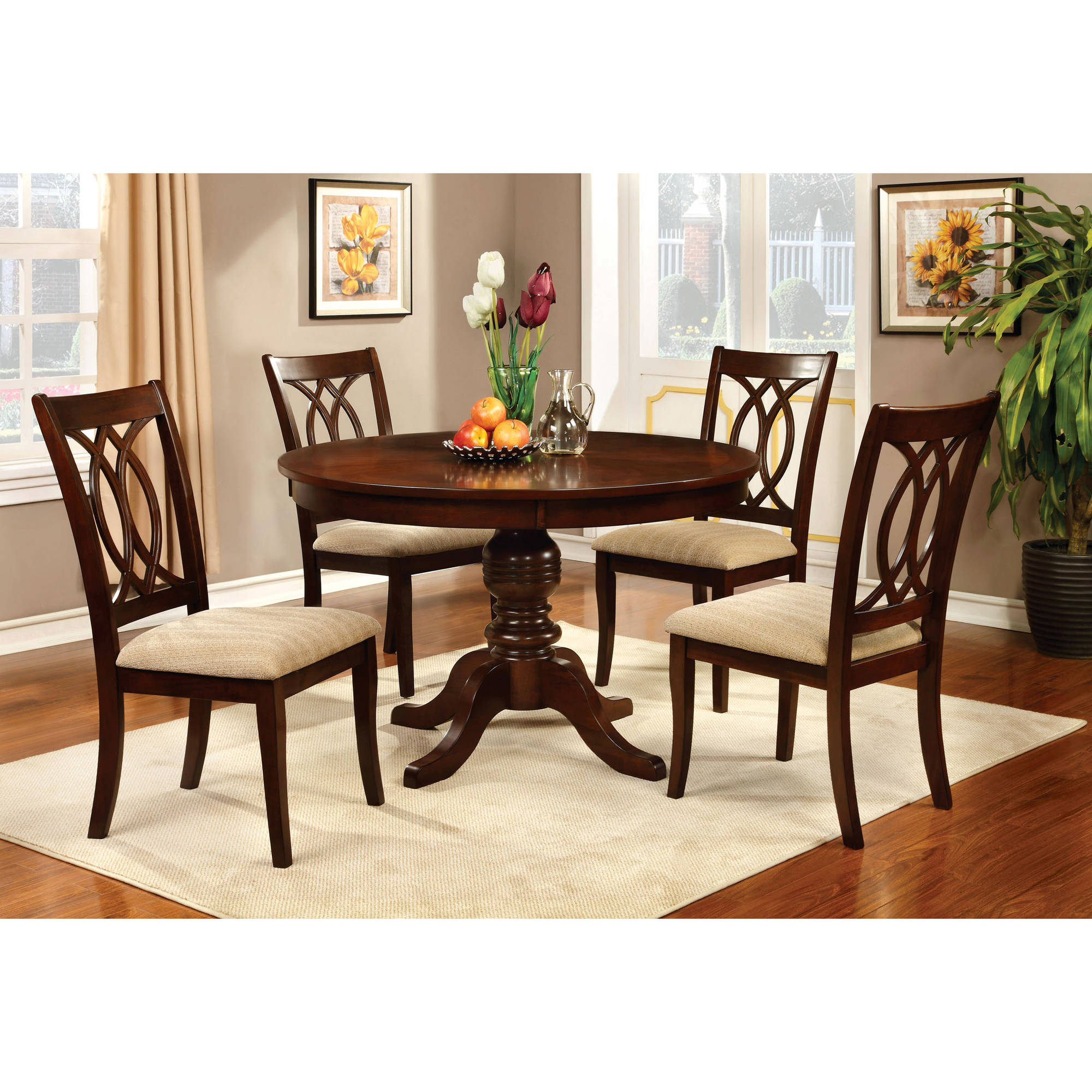 Furniture of America Goddard Transitional 5-Piece Round Dining Set, Brown Cherry