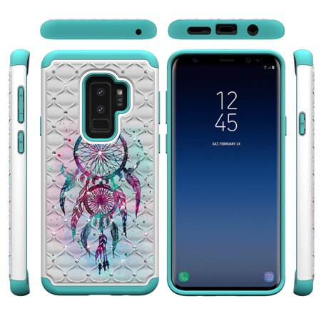 Galaxy S9 Case, Allytech Silicone Rubber Hybrid Durable Ultra Slim Bumper Full Body Protective Shockproof Armor High Impact Girls Women Case Cover for Samsung Galaxy S9, DreamCatcher - Girl In Armor