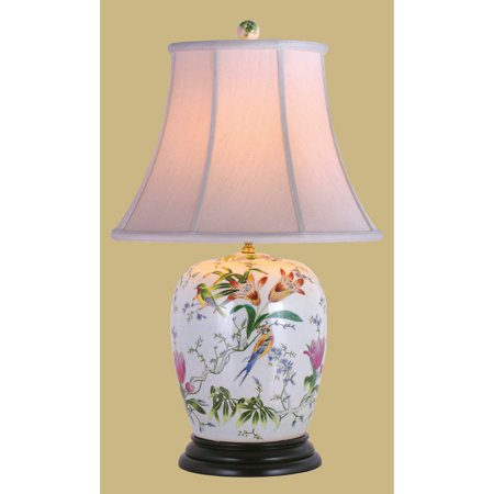East Enterprises LPDBFB0815B Lily Ginger Jar Table Lamp - White (Ginger Jar Lamps)