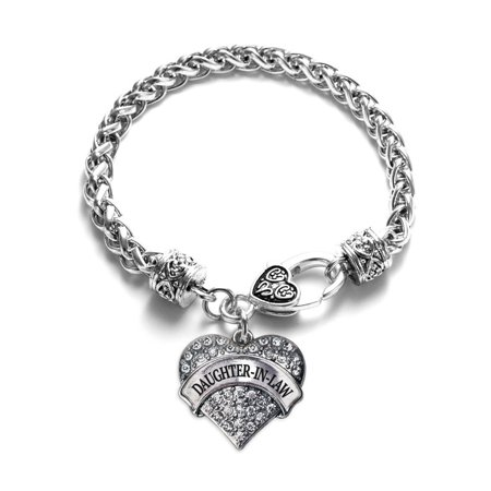 Daughter in Law Crystal Pave Heart Charm Bracelet](Mother Daughter Charm Bracelets)