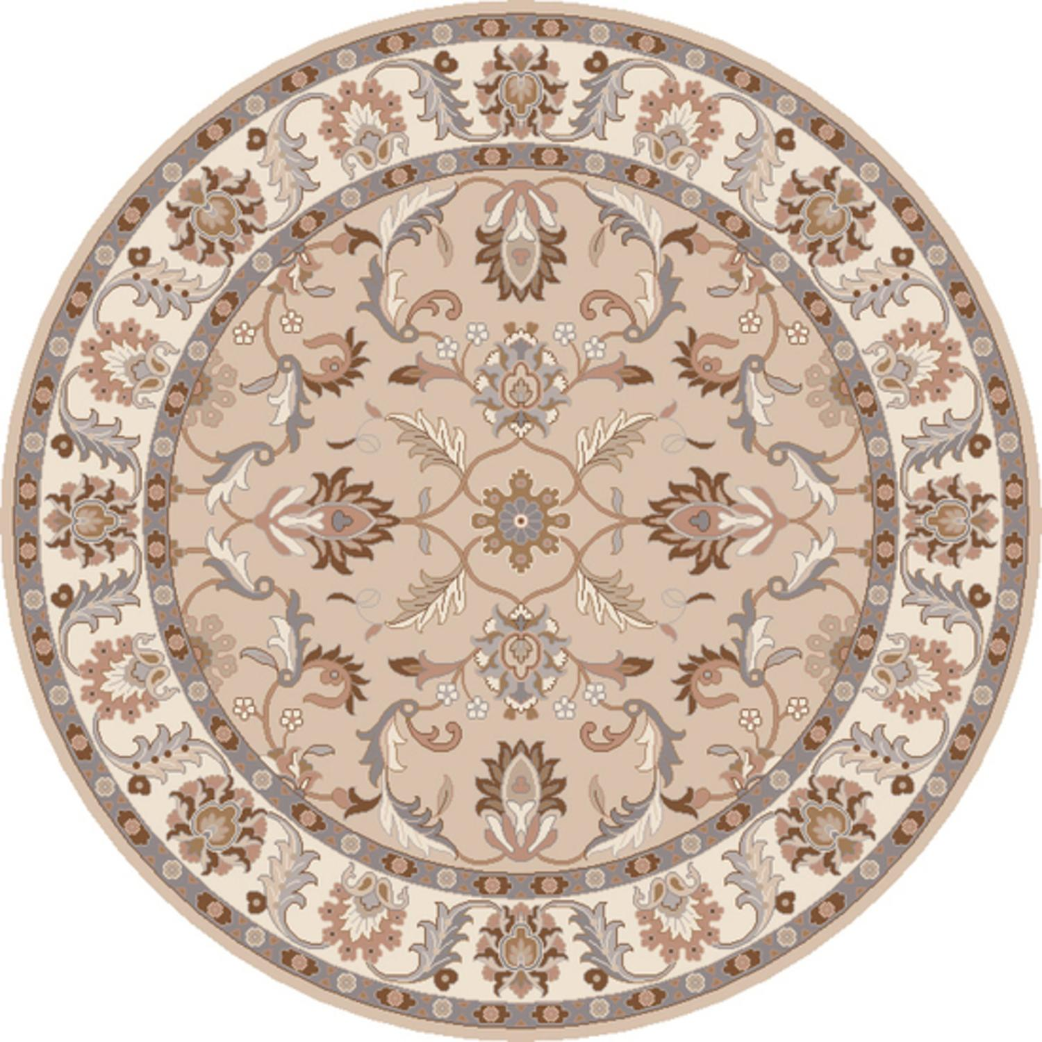 4' Publius Tan, Lavender Gray and White Hand Tufted Round Wool Area Throw Rug