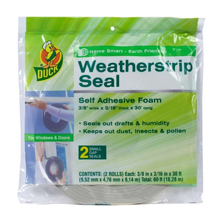 Duck Brand Foam Weatherstrip Seal for Small Gaps, 2pk