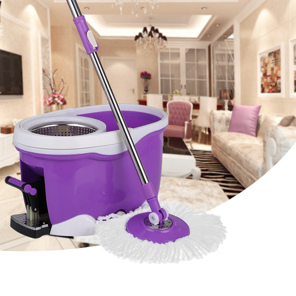 iKayaa Hands-free Stainless Steel 360°Rolling Spin Mop & Bucket Set Foot Pedal Rotating Self-Wring Floor Mop
