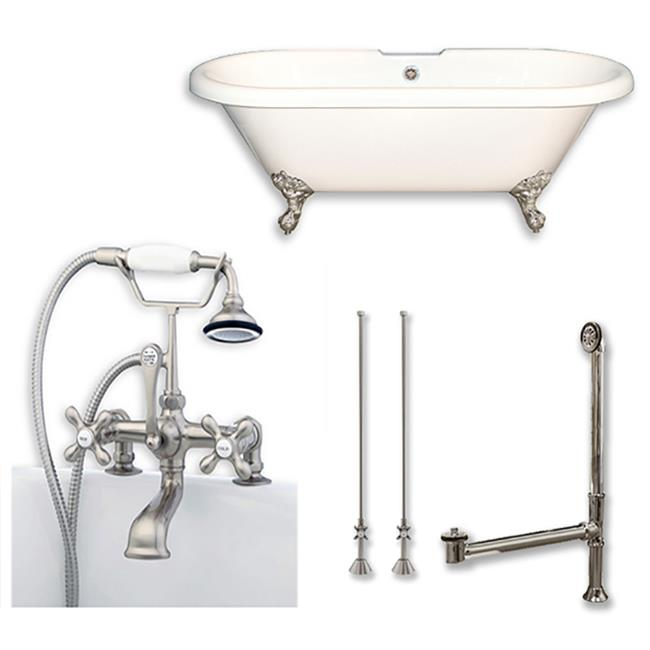 """Acrylic Double Ended Clawfoot Bathtub 60"""" X 30"""" with 7"""" Deck Mount Faucet Drillings and complete Brushed Nickel Plumbing Package"""