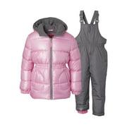 Pink Platinum Baby Toddler Girl Metallic Winter Jacket Coat & Snow Pants Bib, 2pc Snowsuit Set