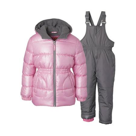Pink Platinum Baby Toddler Girl Metallic Winter Jacket Coat & Snow Bib Snow Pants, 2pc Set ()