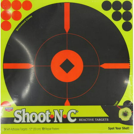 BIRCHWOOD CASEY 12 INCH SHOOT N C REACTIVE TARGETS- 3 SHEET PACK, 72 REPAIR PASTERS