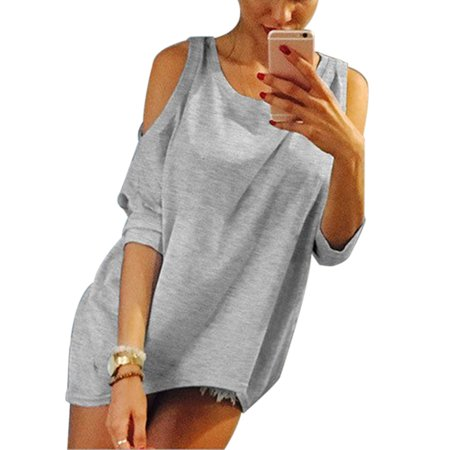 3b0d4e6a58089 Sexy Dance - Cold Shoulder Tops Women Short Sleeve T Shirts Off Shoulder  Blouse Causal Loose Bardot Tunic Shirt Cut Out Crew Neck Tee - Walmart.com