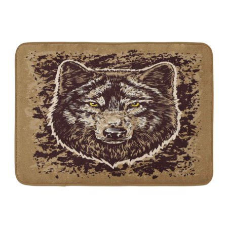 Godpok Angry Black Eyes Wolf Hand Draw Sticker Brown White Abstract Animal Rug Doormat Bath Mat 23 6x15 7 Inch
