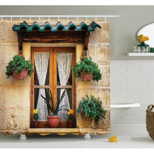 Ambesonne Old Window and Flowers Shower Curtain Set
