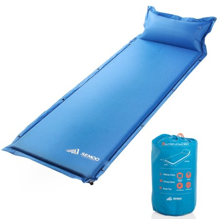Semoo Self Inflating Sleeping Pad For Camping With Pillow Adults Teens Tent Camping Accessories Cot