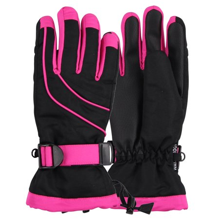 Women's Classic Waterproof Ski Glove (Black & Hot Pink, Small/Medium)