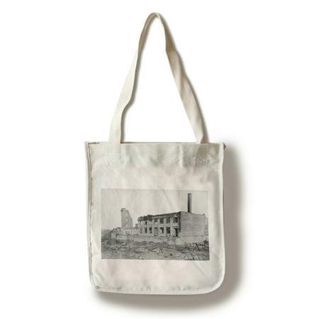 Astoria  Oregon Fire View Of Astoria Natl  Bank Photograph  100  Cotton Tote Bag   Reusable