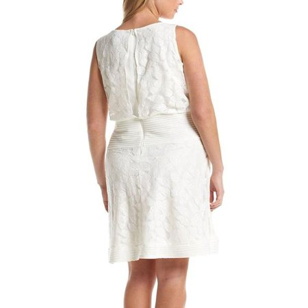 Julian Taylor Womens Plus Size Sleeveless Fit and Flare Dress - White  Dresses