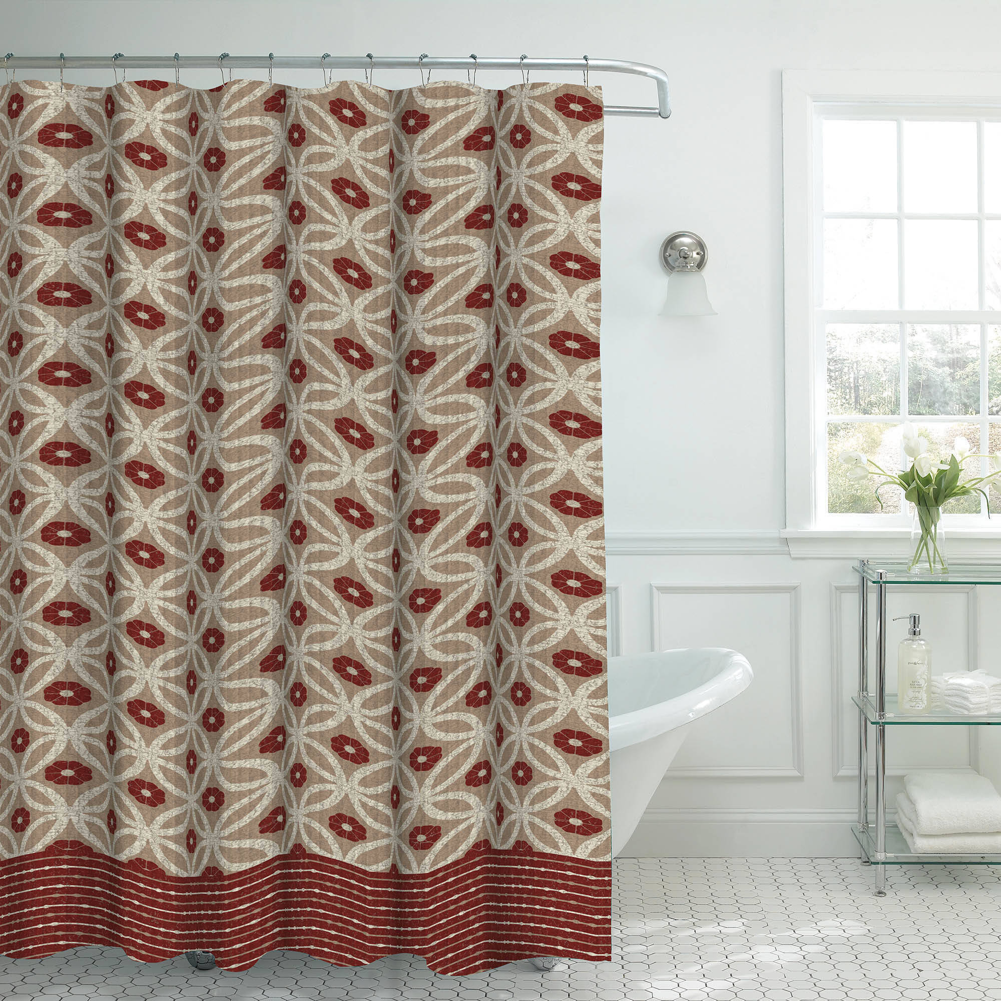 Bounce Comfort Oxford Weave Textured 13-Piece Shower Curtain Set with Metal Roller Hooks, Hartford Red/Linen