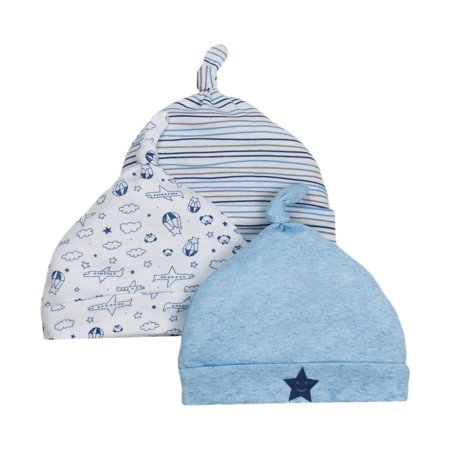 Little Star Organic Newborn Baby Boy Caps, 3-pack (Best Baby Products For Newborns)